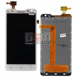 Дисплей для Pioneer S90W; Prestigio MultiPhone 5044 Duo, белый, с сенсорным экраном (дисплейный модуль)