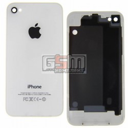 Задняя панель корпуса для Apple iPhone 4, белая, high copy, с компонентами