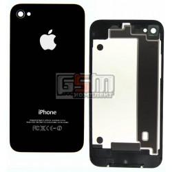 Задняя панель корпуса для Apple iPhone 4, черная, high copy, с компонентами