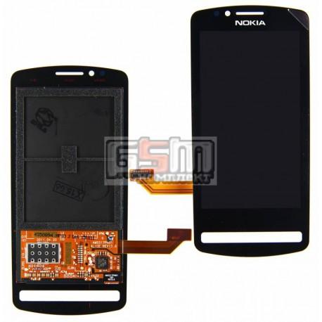 Дисплей для Nokia 700, черный, copy, с сенсорным экраном (дисплейный модуль)