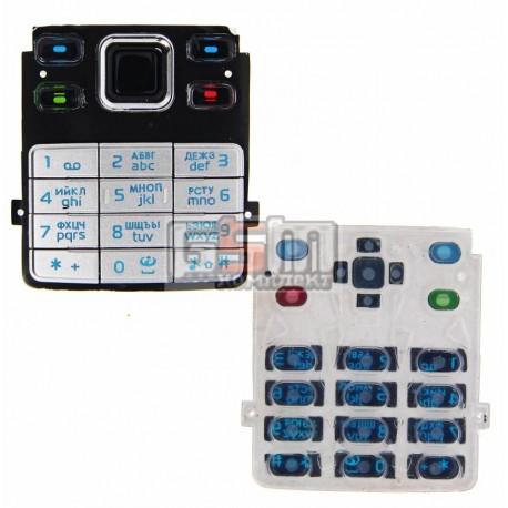 Клавиатура для Nokia 6300, серебристая, русская