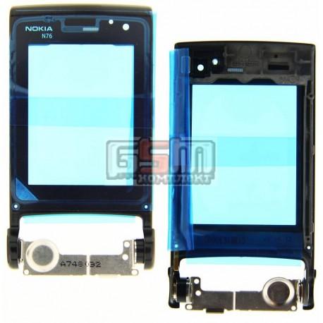 Стекло корпуса для Nokia N76, черное, внутреннее