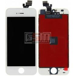 Дисплей для iPhone 5, белый, high-copy, с сенсорным экраном (дисплейный модуль), с рамкой