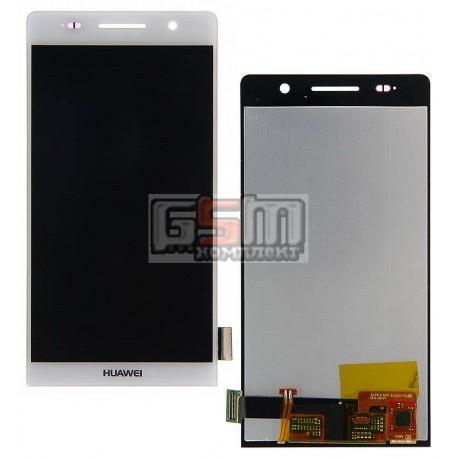 Дисплей для Huawei Ascend P6-U06, белый, с сенсорным экраном (дисплейный модуль)
