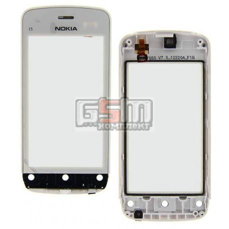 Тачскрин для Nokia C5-03, C5-06, белый, с передней панелью