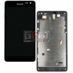 Дисплей для Microsoft (Nokia) 535 Lumia Dual SIM, черный, с сенсорным экраном (дисплейный модуль), с рамкой, #CT2C1607FPC-A1-E