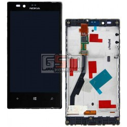 Дисплей для Nokia 720 Lumia, черный, с сенсорным экраном (дисплейный модуль), с рамкой