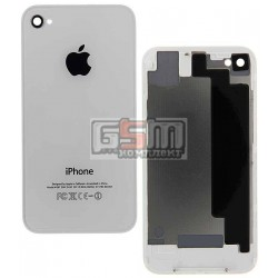 Задняя панель корпуса для Apple iPhone 4S, белая, high copy, с компонентами