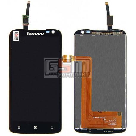 Дисплей для Lenovo S820, черный, с сенсорным экраном (дисплейный модуль), #AT047IC00005/Synaptics