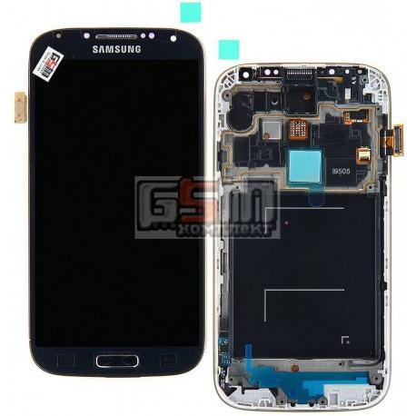 Дисплей для Samsung I9505 Galaxy S4, синій, з передньою панеллю, з тачскріном, оригінал (переклеєне скло)