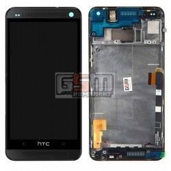 Дисплей для HTC One M7 801e, черный, с сенсорным экраном (дисплейный модуль), с передней панелью