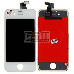Дисплей для iPhone 4S, белый, high-copy, с сенсорным экраном (дисплейный модуль), с рамкой