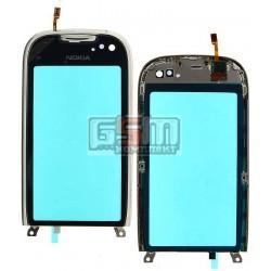 Тачскрин для Nokia C7-00, серебристый, с рамкой