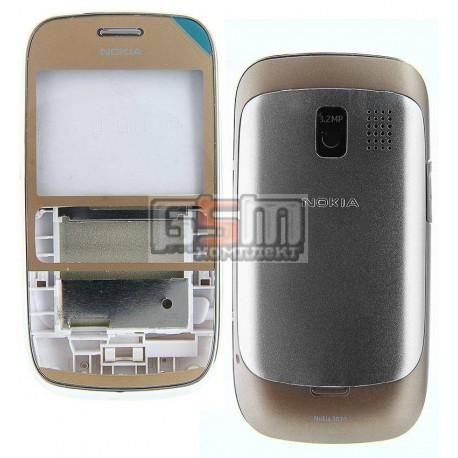 Корпус для Nokia 302 Asha, золотистый, копия ААА