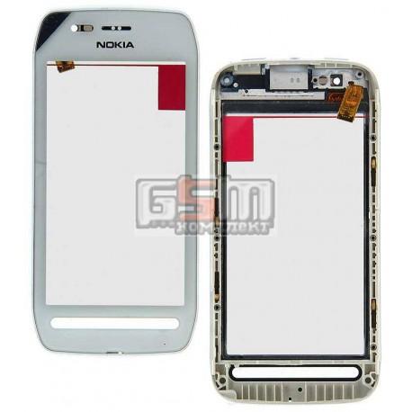 Тачскрин для Nokia 603, белый, с передней панелью