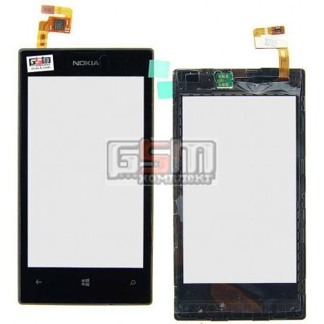 Тачскрин для Nokia 520 Lumia, 525 Lumia, черный, с рамкой