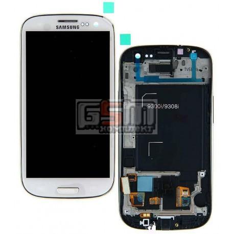 Дисплей для Samsung I9300i Galaxy S3 Duos, I9301 Galaxy S3 Neo, белый, с сенсорным экраном (дисплейный модуль), с передней панел
