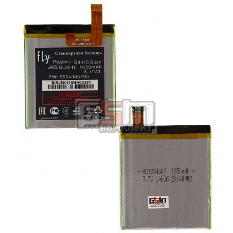 Аккумулятор BL3810 для Fly IQ4415, original, (Li-ion 3.7V 1650mAh), #5834003795