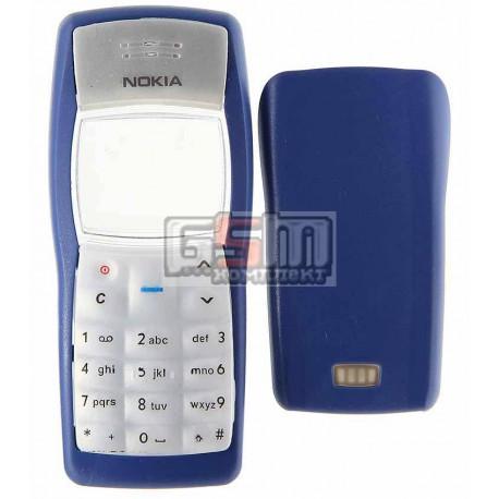 Корпус для Nokia 1100, 1101, копия AAA, синий, с клавиатурой, передняя и задняя панели