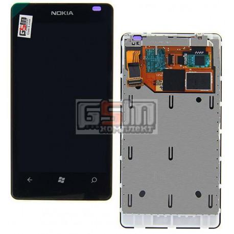 Дисплей для Nokia 800 Lumia, черный, с сенсорным экраном (дисплейный модуль), с рамкой