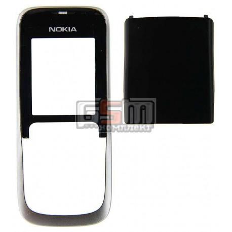 Корпус для Nokia 2630, серебристый, копия ААА, передняя и задняя панель