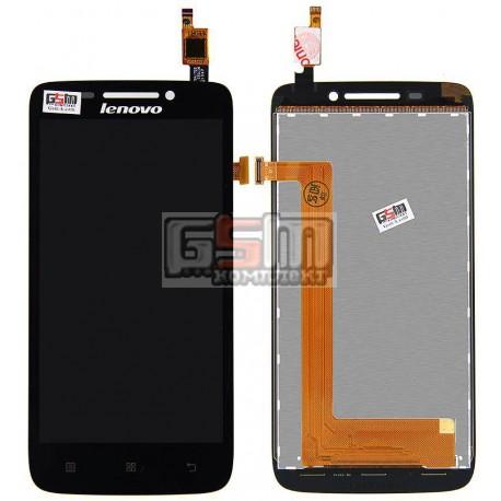Дисплей для Lenovo S650, S658, чорний, з сенсорним екраном (дисплейний модуль)