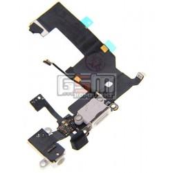 Шлейф для Apple iPhone 5, белый, коннектора зарядки, коннектора наушников, с компонентами, с микрофоном