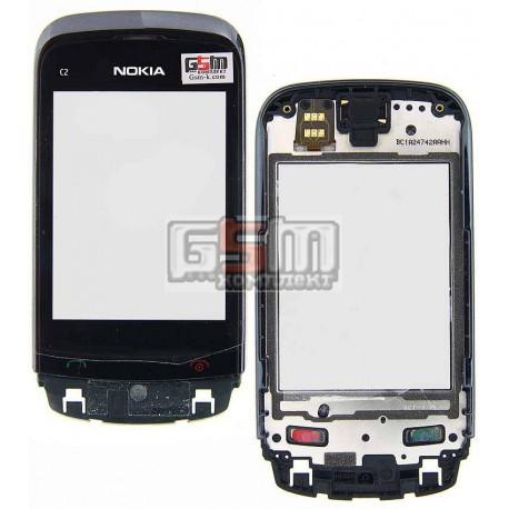 Тачскрин для Nokia C2-02, C2-03, C2-06, C2-07, C2-08, черный, копия, с передней панелью