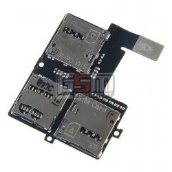 Коннектор SIM-карты для HTC Desire 600 Dual sim, коннектор карты памяти, со шлейфом, на две SIM-карты