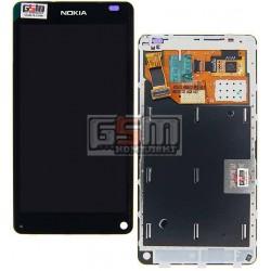 Дисплей для Nokia N9, черный, с сенсорным экраном (дисплейный модуль), с рамкой