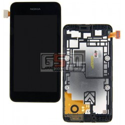 Дисплей для Nokia 530 Lumia, черный, с сенсорным экраном (дисплейный модуль), с рамкой