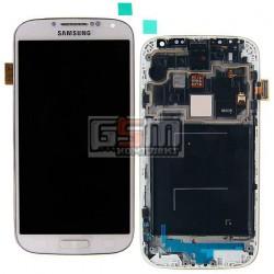 Дисплей для Samsung I9505 Galaxy S4, білий, з передньою панеллю, з тачскріном, оригінал (переклеєне скло)