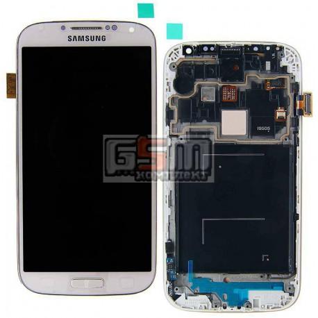 Дисплей для Samsung I9505 Galaxy S4, белый, с сенсорным экраном (дисплейный модуль), с передней панелью