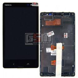 Дисплей для Nokia X2 Dual Sim, черный, с сенсорным экраном (дисплейный модуль), с рамкой