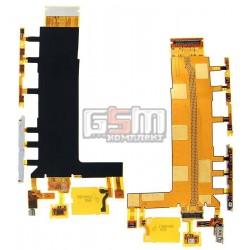 Шлейф для Sony D6603 Xperia Z3, D6643 Xperia Z3, D6653 Xperia Z3, кнопки включения, боковых клавиш, звонка, с компонентами, с ви