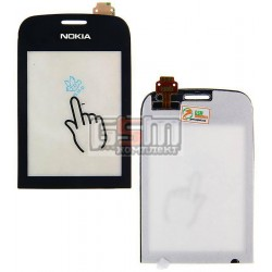 Тачскрин для Nokia 202 Asha, черный, копия