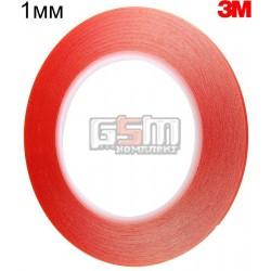 Двухсторонний скотч 1мм х 20м, толщина 0.21 мм красный, ширина 1мм