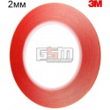 3M Двухсторонний скотч 2мм х 20м, толщина 0.21 мм красный, копия