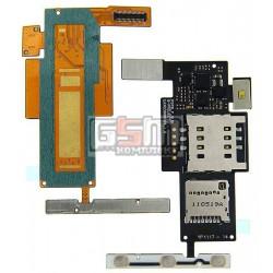 Коннектор SIM-карты для LG P970 Optimus Black, коннектор карты памяти, с шлейфом, с боковыми кнопками оригинал