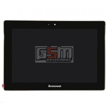 Дисплей для планшета Lenovo IdeaPad S6000, черный, с сенсорным экраном (дисплейный модуль), с рамкой, (версия 3G), #BP101WX1-206