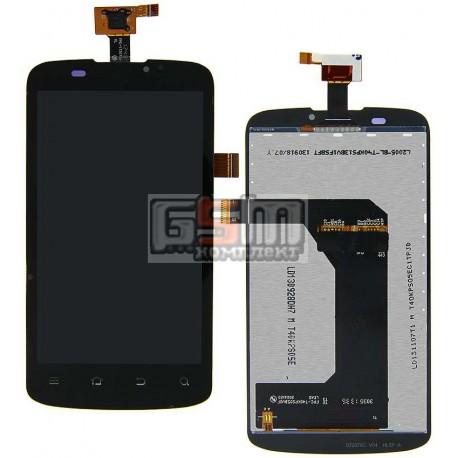 Дисплей для ZTE V889 Blade 3, черный, с сенсорным экраном (дисплейный модуль)