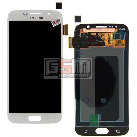Дисплей для Samsung G920F Galaxy S6, белый, с сенсорным экраном (дисплейный модуль)