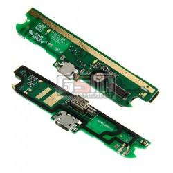 Шлейф для Lenovo A830, коннектора зарядки, микрофона, с компонентами, (плата зарядки)