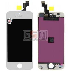 Дисплей для iPhone 5S, iPhone SE, белый, high-copy, с сенсорным экраном (дисплейный модуль), с рамкой