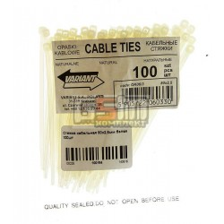 Стяжка кабельная 80х2,5мм белая 100шт