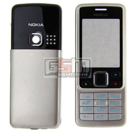 Корпус для Nokia 6300, серебристый, high-copy, с клавиатурой