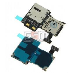 Конектор SIM-карти для Samsung I9500 Galaxy S4, з конектором карти пам'яті, зі шлейфом