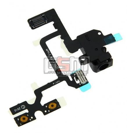 Шлейф для Apple iPhone 4, черный, кнопок звука, коннектора наушников, с компонентами