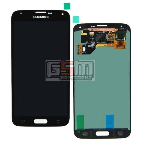 Дисплей для Samsung G900A Galaxy S5, G900F Galaxy S5, G900H Galaxy S5, G900I Galaxy S5, G900T Galaxy S5, черный, с сенсорным экр