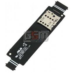 Коннектор SIM-карты для Asus ZenFone 5 (A500KL), со шлейфом, single sim